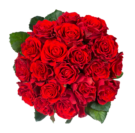 Top view of beautiful bouquet of red roses isolated on white background