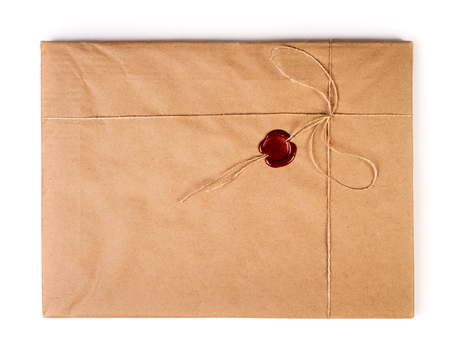 Old envelope with red sealing wax isolated on white background Reklamní fotografie
