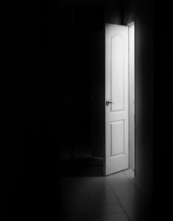 Open door with bright light outside