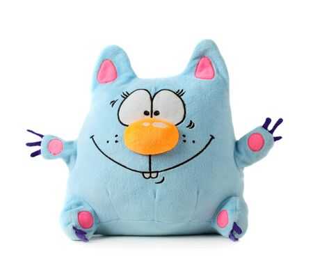 Funny blue toy cat isolated on white background Stock Photo