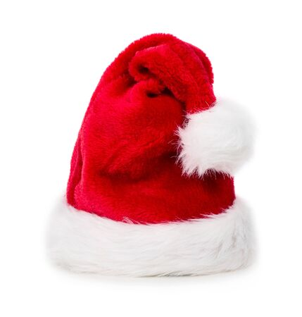 Red Christmas santa hat isolated on white background