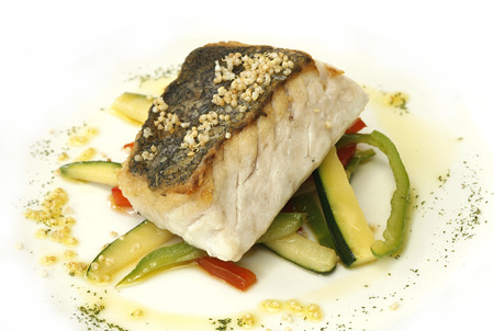 hake: Roast hake baked with vegetables