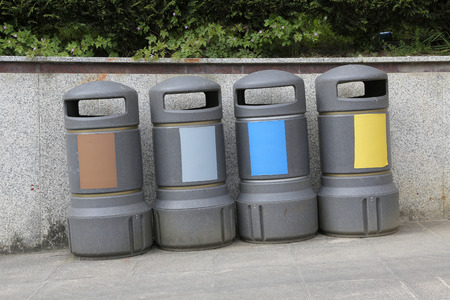 differentiation: Recycling containers of all types of waste. Color differentiation