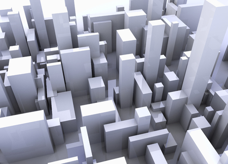 Simulation of a city with buildings 3d composition
