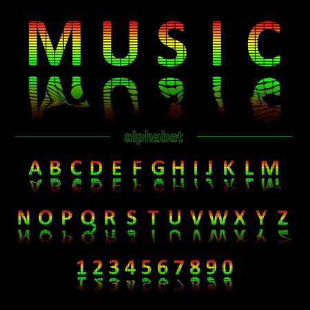 Alphabet in the form of an equalizer. Bright neon letters. Font for Musical Flyer, Night Party poster or Club Invitation.