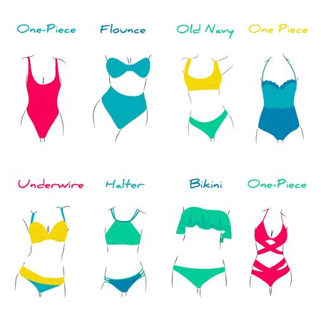 Ilustracja modnych strojów kąpielowych. Różne rodzaje damskiej odzieży plażowej. Modele nowoczesne i retro. Ilustracje wektorowe