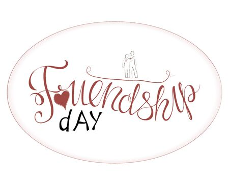 Vector illustration of hand drawn happy friendship day. felicitation in fashion style with lettering text sign and color triangle for grunge effect isolated on white background Ilustração