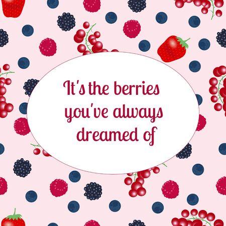 Fresh organic summer berries and fruits. Strawberry blueberry gooseberry blackberry raspberry. Healthy food vegan cafe vector menu