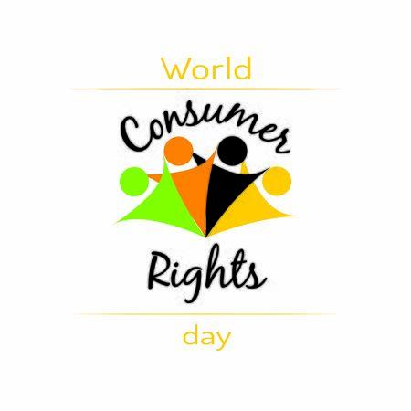Illustration der Beschriftung des Weltverbraucherrechtstags. Für Werbung, Marketing, Geschäftsbedarf. Banner für den 15. Mai
