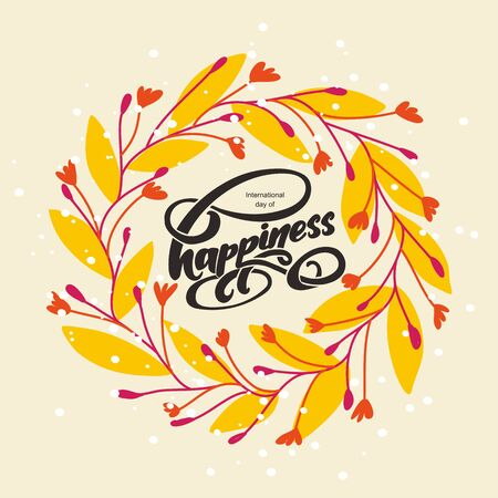 Yand written text happiness day and chaotic ornament of flowers and leaves. Vector illustration. 向量圖像