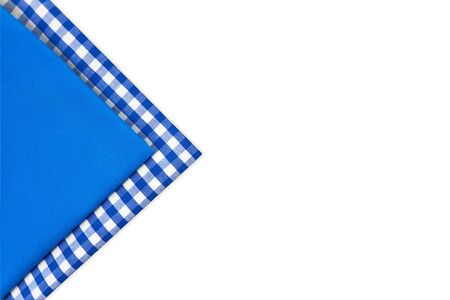 Group of blue paper napkins isolated on white background, background with place for text blue and white, fabric,