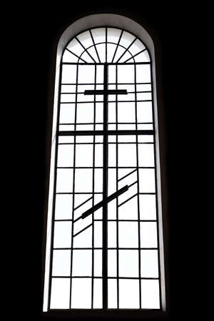 large church window silhouette, on black background, window with cross and arch