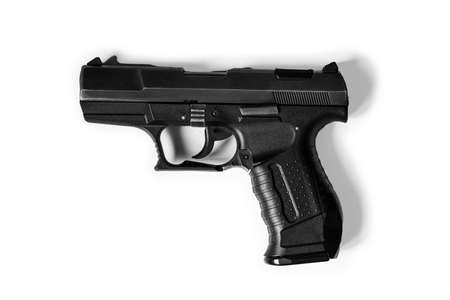 black gun pistol isolated on white background, weapons, war
