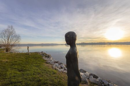 Shooting of Lake Varese in Italy from the Gavirate shore