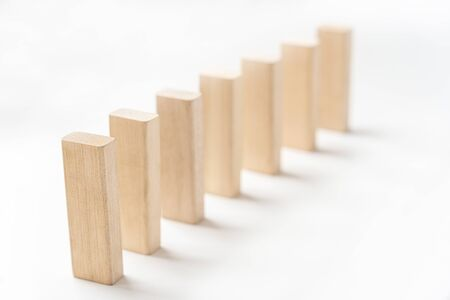 wooden blocks stand vertically one after another - photo Stok Fotoğraf