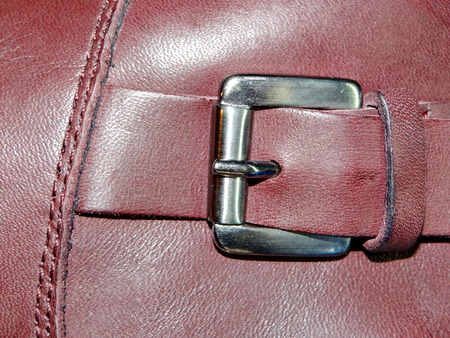 to clasp: leather with clasp