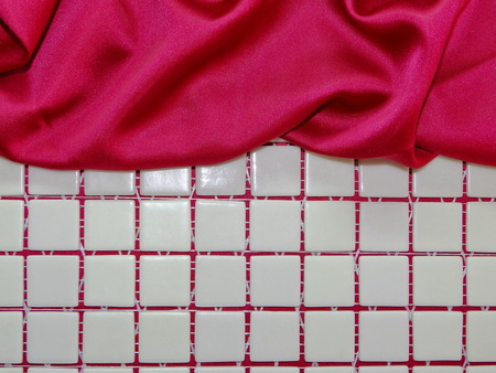 mosaic: mosaic and red silk