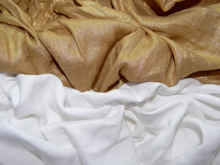 white cloth: gold and white cloth