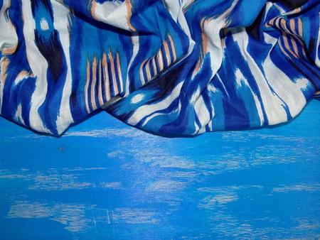 blue background: blue fabric on blue background Stock Photo