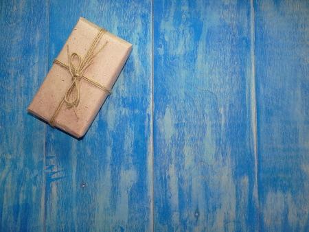 blue background: gift on blue background