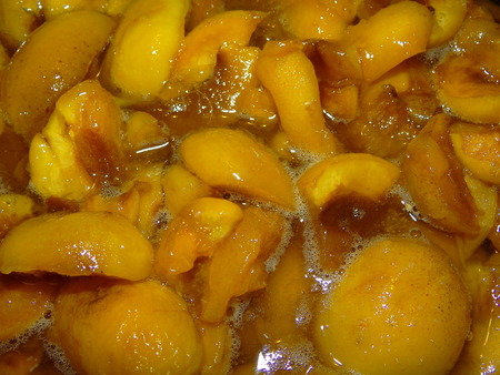 syrup: apricots in sugar syrup Stock Photo