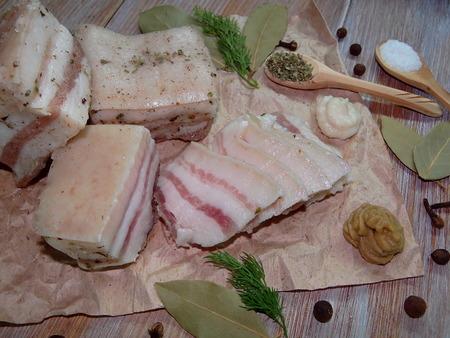 lard: lard with spices Stock Photo