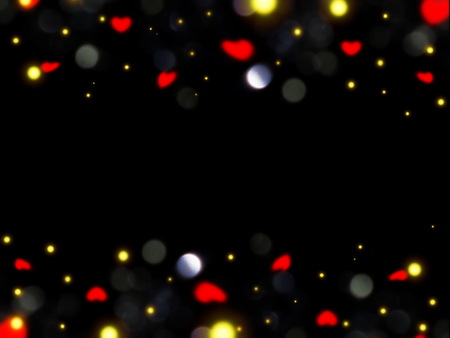 flare and hearts on a black background