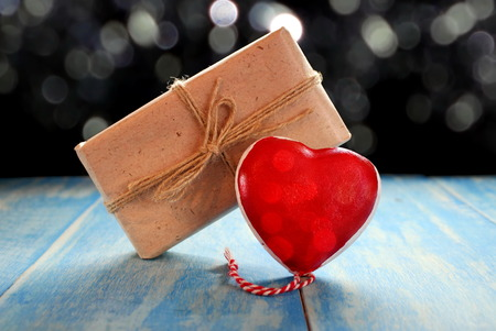 wood texture: heart and gift Stock Photo