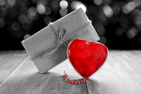 heart and gift Stock Photo