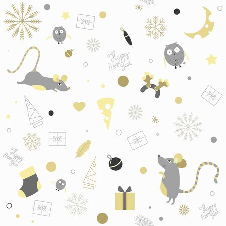 Pattern new year on which owls fly for mice.The moon shines and snowflakes fall. The inscription Happy new year is written on a white background.