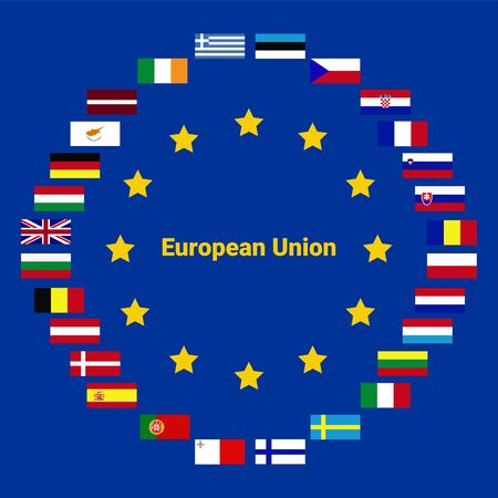 Collection of flags from all national countries of European Union Çizim