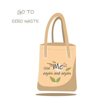 A paper bag that says use me again and again. Fabric bag with recycling, green leaf symbol.Vector illustration of an apartment isolated on a white background. Çizim