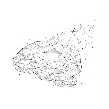 .Abstract human brain on a white background Ilustracja