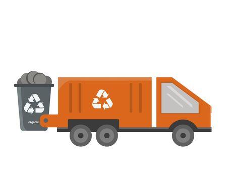 Garbage truck in orange color illustration on white background
