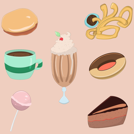 Collection of sweet food: churros, milkshakes, hot chocolate, biscuit, lollipop, sacher cake. Vector illustration Illustration