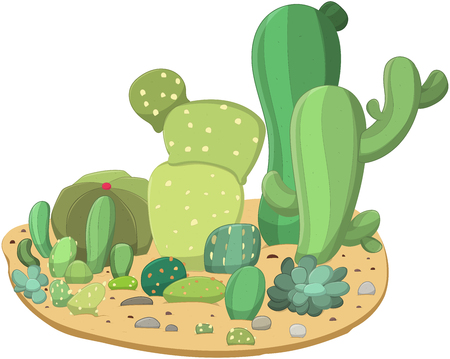 Line art collection of cute and different cacti on the ground. Vector illustration.