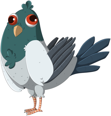 Cute and funny pigeon. Vector illustration.