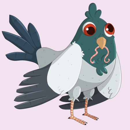 Cute and funny Pigeon eating a worm. Vector illustration