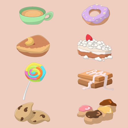 Collection of sweet food and drink: cappuccino, donut, croissant, meringue cake, lollipop, french toast, biscuits and cream puffs