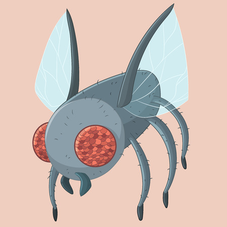 Cute cartoon Fly insect with big red eyes. Vector illutration