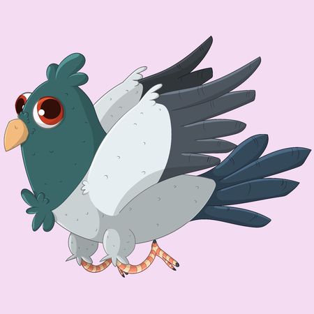 Cute flying Pigeon. Vector illustration