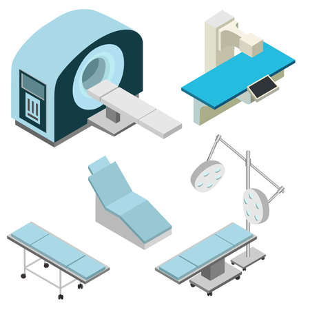 Isometric medical diagnostic equipment set. Computed tomography, gurney, dental chair, surgery. Isolated vector illustrations Vector Illustratie