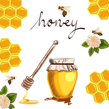 honey in a glass jar, honeycombs, flowers, bees