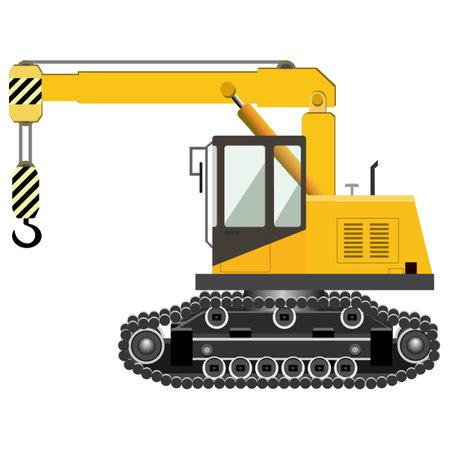 Yellow crawler crane. Industrial machinery. Construction machinery. Vector illustration.