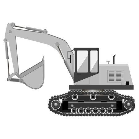 Grey crawler excavator. Industrial machinery. Construction machinery. Vector illustration. Illustration