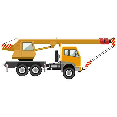 Mobile crane. Industrial machinery. Vector illustration. Illustration