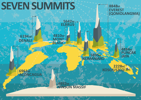 Seven summits - highest mountains of each continent. Challenge for superheroes Stock Vector - 115687084