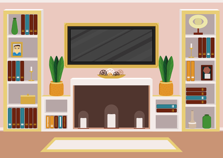 Living room with artificial chimney (alcove). Modern design in calm pastel colour palette Иллюстрация