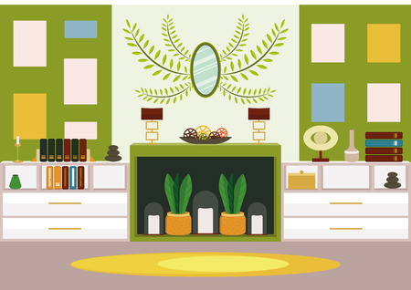 Living room with artificial chimney (alcove). Modern design in green colors. Bring some nature in your home 일러스트