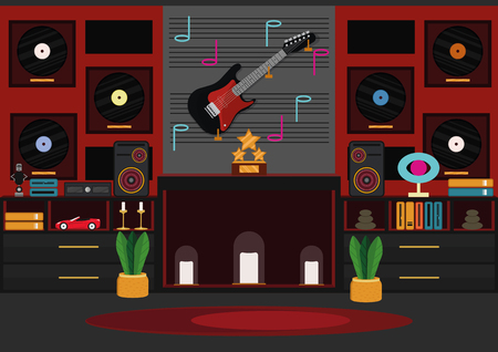 Living room with artificial chimney (alcove). Room of the rock star. Modern design in red and black color with neon lights Иллюстрация
